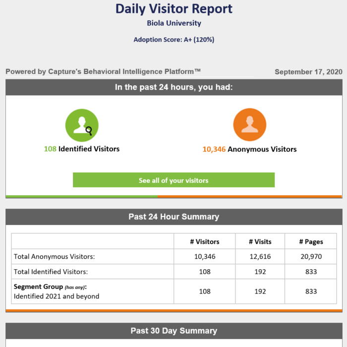 Daily Visitor Report