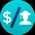 money sign and graduate headshot