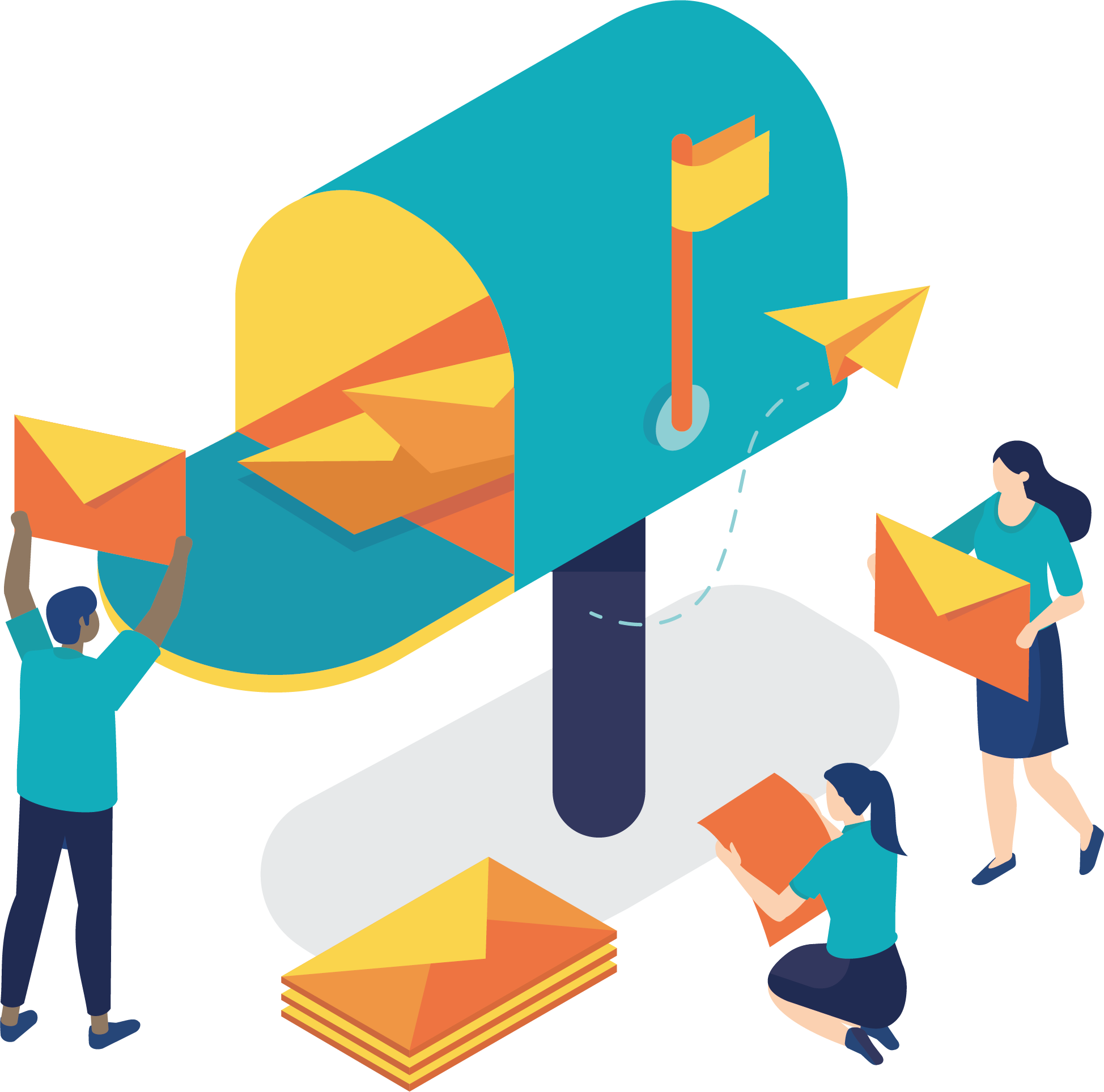 illustration of people putting giant letters into a giant mailbox