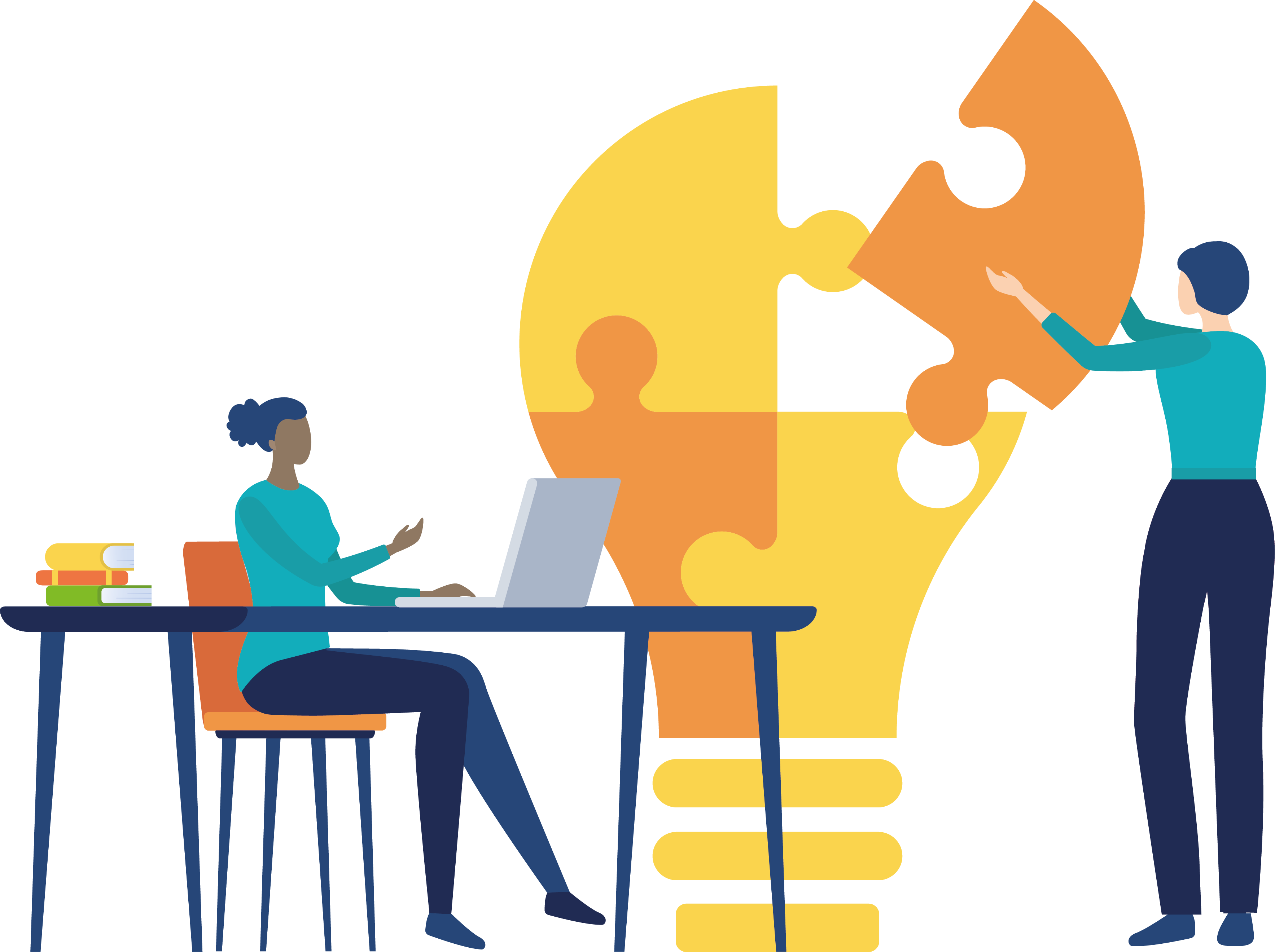 illustration of 2 people building a light bulb