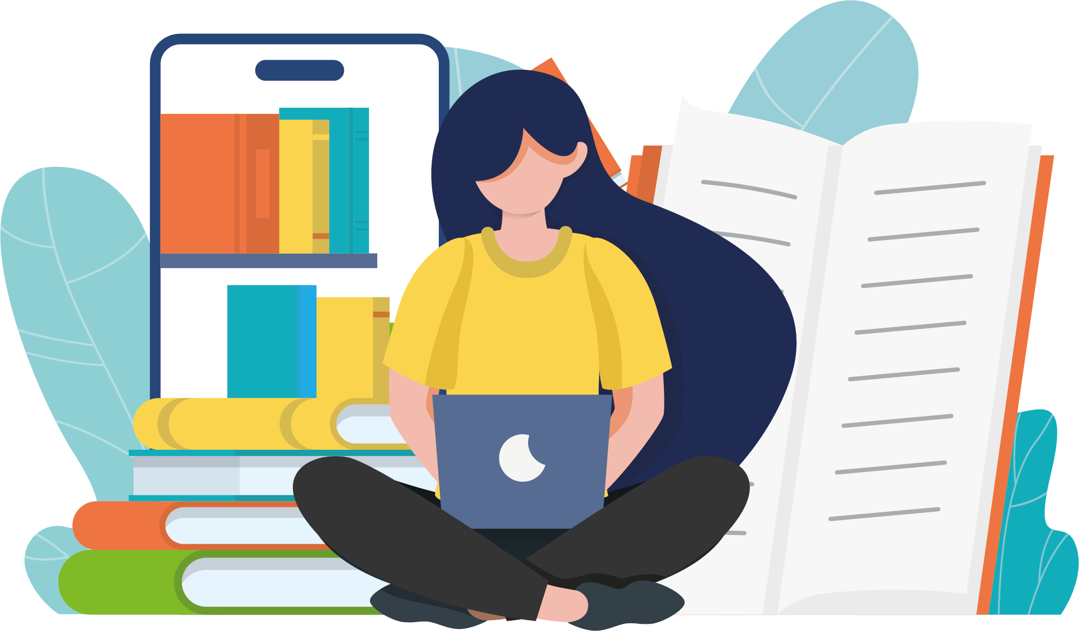 girl on a laptop in front of notebooks